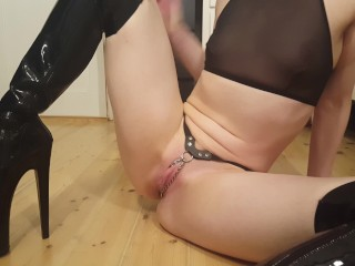 Alice Strange Masturbates in Thigh High Boots and a Chain Thong