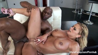 Busty real estate agent Shyla takes black cock