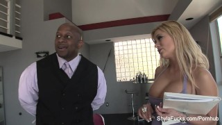Busty real estate agent Shyla takes black cock Big hardcore