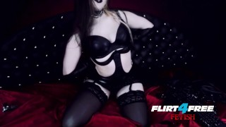 Goth Goddess Fucks Herself in Latex latex-bondage alternative kink masturbate dominatrix flirt4freefetish goth humilation bdsm gothic-pussy mistress big-boobs webcam submission goddess-worship boot-worship