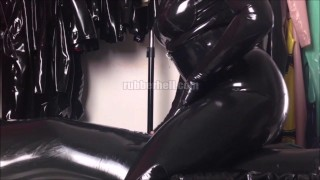 Playing on bed with my latex slave  latex mistress rubber catsuit rubber-bondage shiny femdom-mistress latex slave femdom catsuit fetish rubber femdom rubber-doll latex-catsuit mistress latex-fetish rubber hood sexy mistress