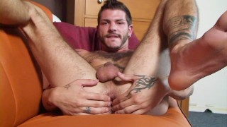 Younger dude toys his ass while muscle DILF watches and enjoys