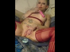 Big tits blonde cums with toys with wet pussy