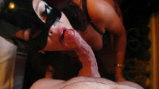 Innocent girl sucks cock full of veins and ejaculates on her boobs