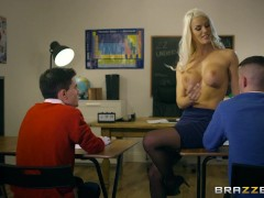 Dirty teacher Blanche Bradburry gets fucked by two studs - Brazzers