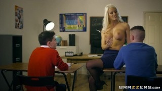 Dirty teacher Blanche Bradburry gets fucked by two studs Brazzers