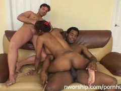 black whore sucking 2 cocks hot interracial threesome