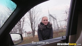 StrandedTeens - Fit Hitchhiker in Nude Stockings Behind ass