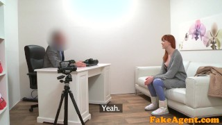 Fake Agent Hot Sexy redhead just loves sucking and fucking
