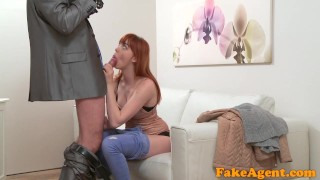 Fake Agent Hot Sexy redhead just loves sucking and fucking Hard french
