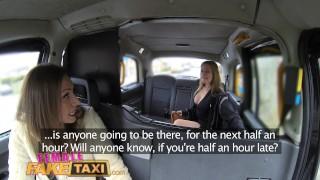 Female Fake Taxi Big tits barmaid gets lesbian tribbing and masturbation