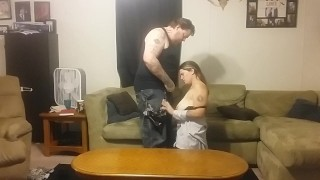 Cums big mess a horny tit home to husband brunette a doggy wife