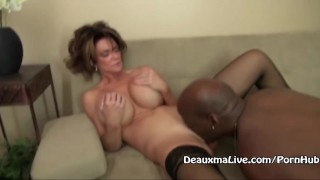 deauxmalive mom huge tits mother old big tits big boobs interracial bbc black cock blowjob bj cumshot glasses mature office sex pussy licking