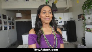 TittyAttack - Big Tittied Babe Fucked During Mardis-Gras ebony teamskeet bigtits hardcore teasing big-natural-tits black babe stripping big-boobs tittyattack jenna-foxx cowgirl titty-fuck busty booty