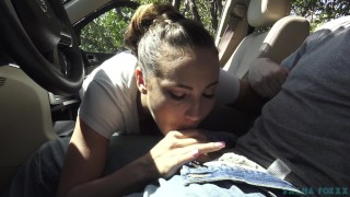 Sasha's public blow and go  car swallow oral creampie ocp cum-in-mouth mark rockwell sasha foxxx point-of-view public cim amateur blowjob