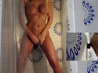 HOT WIFE BIG TITS CUMS IN SHOWER WITH NEW 11inch DILDO 2 CAMERA VIEWS