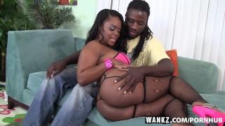 WANKZ Samone Taylor Enjoys Working Big Black Ass Down Monster Cock