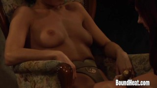 Lesbian Mistress With Big Naturals Using Strapon on Slaves  strapon slave big-tits femdom lezdom big-boobs fetish kink lesbian boundheat girl-on-girl lesbian-strapon 3some mistress lesbian-sex enslaved