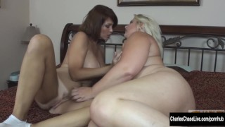 Blonde BBW Makes Big Tit Charlee Chase Cum!