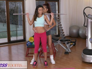 Fitness Rooms Fit tight body gym girl works up a sweat with big tits Asian