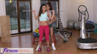 Fitness Rooms Fit tight body gym girl works up a sweat with big tits Asian  big-tits kissing asian gym exercise fitnessrooms lycra lesbian workout brunette girl-on-girl small-tits paula shy