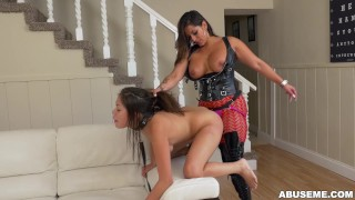 Latina Camgirl Spicy J Dominates Samantha Parker With a Strapon  big ass spicy j ass strapon booty fetish young kink lesbian brunette girl-on-girl rough latina latin toy samantha-parker abuseme