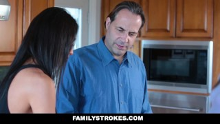 FamilyStrokes- Hot Teen Blackmails & Fucks Panty Sniffing Step-Dad  smalltits hardcore brunette stepdad familystrokes petite father shaved bigcock doggystyle chloe scott cumshot