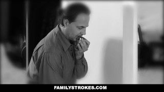 FamilyStrokes- Hot Teen Blackmails & Fucks Panty Sniffing Step-Dad  cumshot step-daddy step-daughter chloe scott cum-on-tits hardcore smalltits brunette stepdad familystrokes petite father shaved bigcock doggystyle