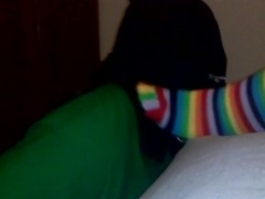 Foot domination, with mask and rainbow toe socks with cumshot
