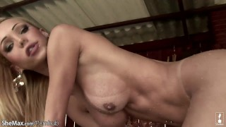 Shecock body thursts in her cake with perfect blonde shemale solo tanline