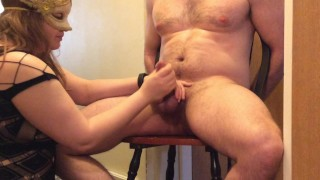 To tied earns while orgasm chair husband chastity locked ruined chastity cunnilingus