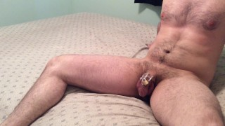 Locked chastity husband earns ruined orgasm while tied to chair  tease and denial chastity tease femdom handjob dominant submissive chastity femdom cunnilingus handjob amateur couple bondage ruined handjob chastity cage ruined orgasm orgasm control cunnilingus orgasm dominant wife