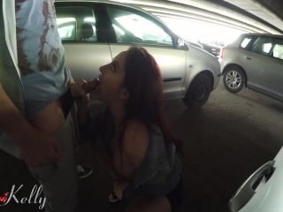 Amateur public parking lot blowjob