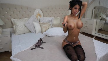 Anisyia LiveJasmin messy blowjob spit on huge tits