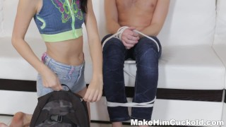 Make Him Cuckold - Depraved cuckold surprise  riding close-up pearl-necklace makehimcuckold blond skinny young cumshots natural-tits pussy brunette european shaved teenager doggystyle