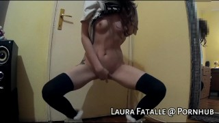 Step sister caught masturbating and squirting in parents room