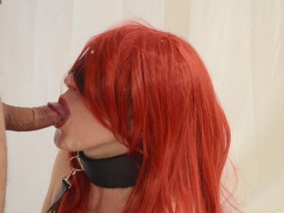 Hot slave gives deep blowjob and cum in mouth (Swallow cum)
