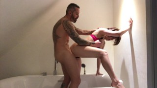 Hot fucking, doggy style, blowjob and creampie in the bathroom