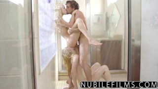 NibileFilms - Elsa Jean & Lily Rader Share Cock In Shower  shower sex big-cock cock-sucking nubilefilms threeway blonde cumshot skinny girl-on-girl babes deepthroat small-tits cum-in-mouth teenager doggystyle tiny teen
