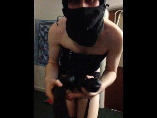 Masked Fetish Shemale Strip Tease For Huge Dildo