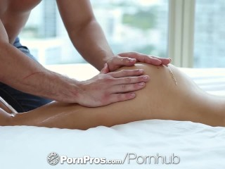 Preview 1 of PORNPROS Brunette Melissa Moore gets body rubbed down before fuck