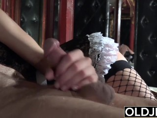 Preview 4 of Grandfather fucks the hot maid fingers her young pussy and gets blowjob