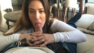 POV BJ close up homemade bj amateur blowjob cfnm cumshot pov orgasm brunette natural tits homevideo selfshot