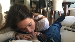 Bj pov blowjob brunette
