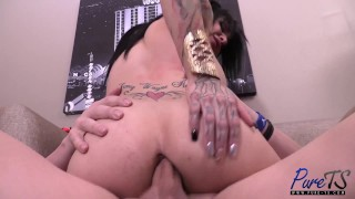 tattooed TS sex bunny Britney Boykins gets fucked hard Double anal