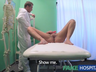 Fake Hospital Doctor squeezes a dildo and cock into Patients wet pussy