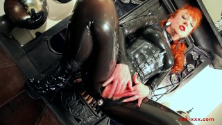 Red lubes up her latex catsuit and rubs her juicy wet pussy  masturbation british uk ginger boots redhead old mom milf latex mother ukmilf red xxx finger fucking