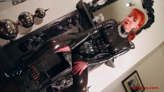 Red lubes up her latex catsuit and rubs her juicy wet pussy redhead finger-fucking milf old masturbation mom british latex mother ukmilf uk ginger red-xxx boots