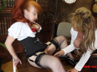 Red-XXX – Horny and Busty MILFS bang on the office desk