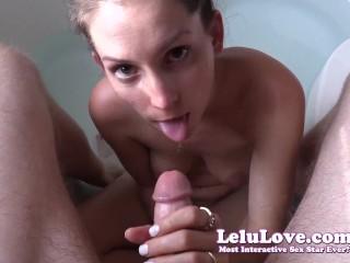 Cumshot creampie sex sucking your cock in the bathtub until you cum all over my face lelu